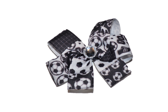 Black and White Soccer Bow (Sports) - Dream Lily Designs