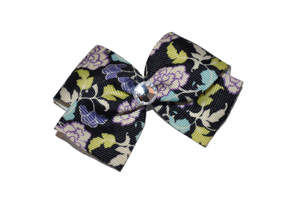 1.5 Inch Black Purple Aqua Flower Pattern Bow (Misc Patterns) - Dream Lily Designs