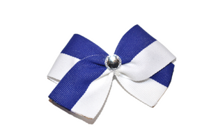 1.5 Inch White and Royal Blue Striped Bow (Stripes and Chevron)