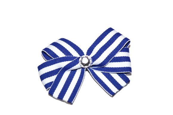 Royal Blue White Thin Striped Bow (Stripes and Chevron) - Dream Lily Designs