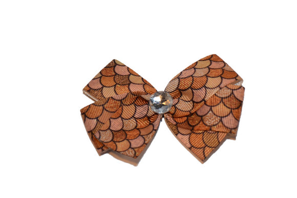 Mermaid Scale Gold Browns Pattern Bow (Misc Patterns)