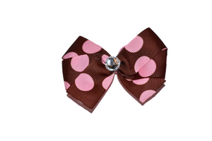 Brown with Pink Polka Dots Bow (Misc Patterns) - Dream Lily Designs