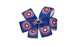 Blue Red Captain America Bow (Superhero) - Dream Lily Designs