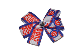 White Blue Cubs Bow (Sports Teams) - Dream Lily Designs