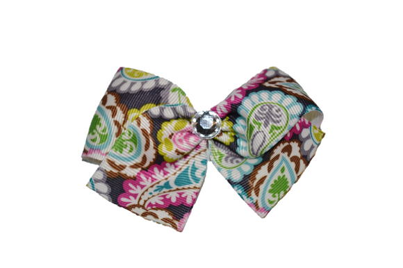 1.5 Inch Grey Green Teal Pink Pattern Bow (Misc Patterns) - Dream Lily Designs