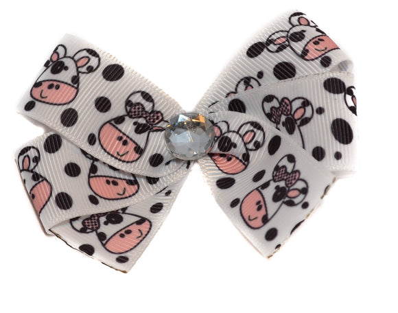1 Inch Black White Cow Face Pattern Bow (Animal)