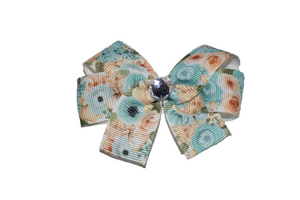 Aqua and Ivory Roses Bow (Misc Patterns) - Dream Lily Designs