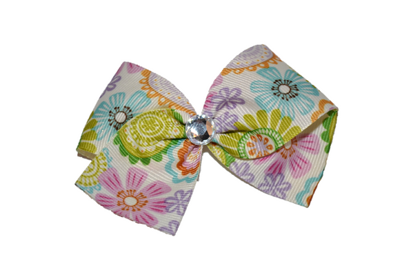 1.5 Inch Ivory Green Aqua Purple Flower Pattern Bow (Misc Patterns) - Dream Lily Designs