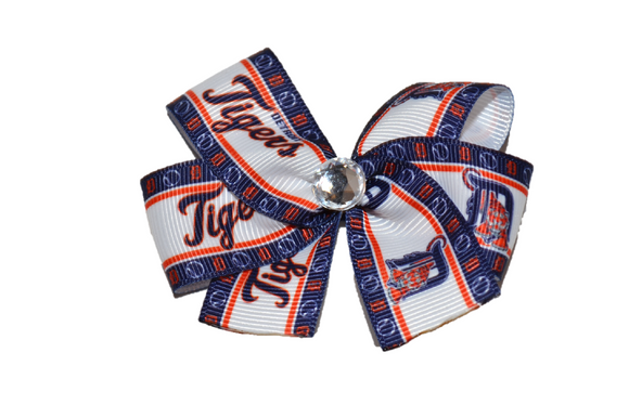 Detroit Tigers Navy Border Bow (Sports Teams) - Dream Lily Designs