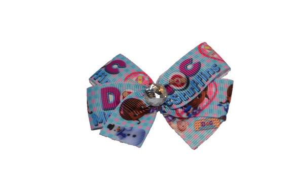 Doc McStuffins Blue Pink Checker Bow (Disney) - Dream Lily Designs