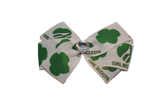White Girl Scout Crest Bow (Girl Scouts) - Dream Lily Designs