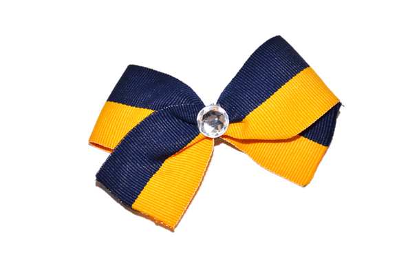 1.5 Inch Navy Blue Yellow Striped Bow (Stripes and Chevron)