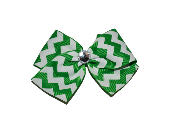 1.5 Inch Green and White Chevron Bow (Stripes and Chevron) - Dream Lily Designs