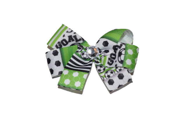Green Black and White Soccer Bow (Sports) - Dream Lily Designs