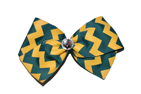1.5 Inch Green and Yellow Chevron Bow (Stripes and Chevron)