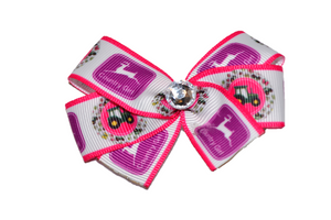 Pink Country Girl Bow with Purple Deer (John Deere Tractor) - Dream Lily Designs