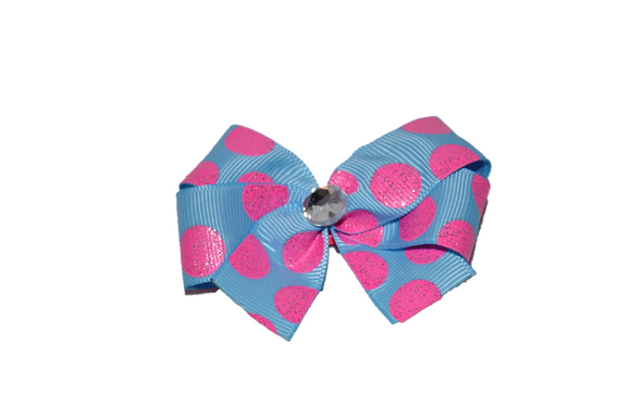 Light Blue with Pink Glitter Polka Dots Bow (Misc Patterns) - Dream Lily Designs