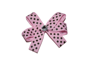 Light Pink with Brown Small Polka Dots Bow (Misc Patterns) - Dream Lily Designs