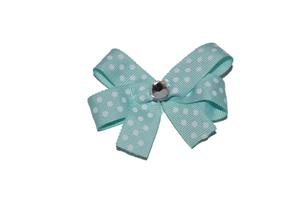 Aqua with White Small Polka Dots Bow (Misc Patterns) - Dream Lily Designs