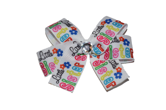 Little Sister Colorful Hair Bow (Sister) - Dream Lily Designs