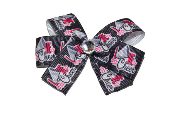 I Love Cheer Bow (Sports) - Dream Lily Designs