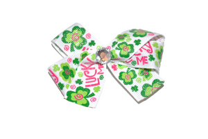 Lucky Me St. Patrick's St. Patty's Day Glitter Shamrock Bow (Holidays) - Dream Lily Designs