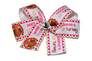 Mamas Little Turkey Bow (Thanksgiving) - Dream Lily Designs