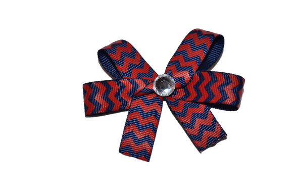 Red Navy Blue Skinny Chevron Bow (Stripes and Chevron) - Dream Lily Designs