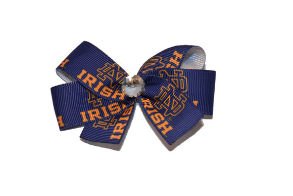 Notre Dame Irish Blue Gold Bow (Sports Teams)