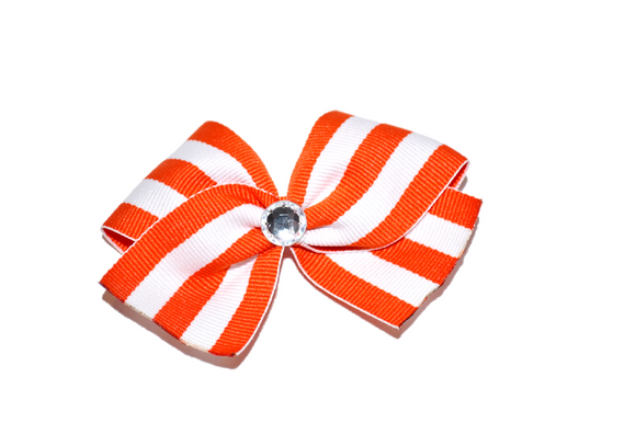 1.5 Inch Orange White Striped Bow (Stripes and Chevron)