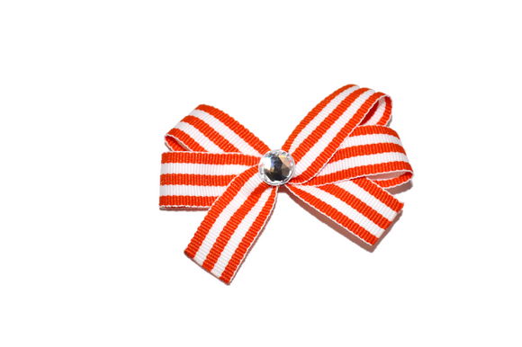 Orange White Thin Striped Bow (Stripes and Chevron)
