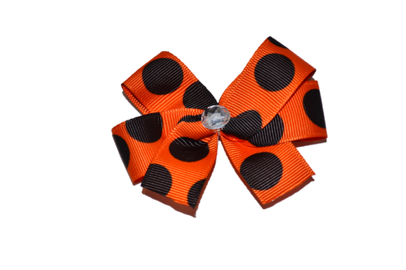 Orange with Black Polka Dots Bow (Misc Patterns)