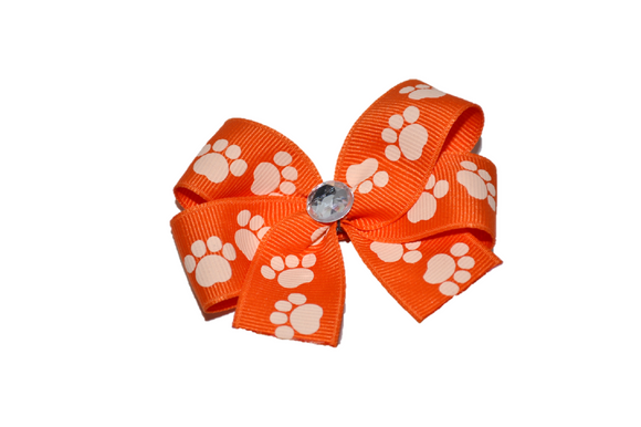 Orange with Paw Prints Bow (Misc Patterns) - Dream Lily Designs