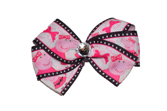 Peppa Pig White Black Pink Bow (Misc Characters) - Dream Lily Designs