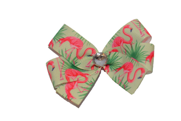 Pink Flamingo on Green Palms Bow (Animal)