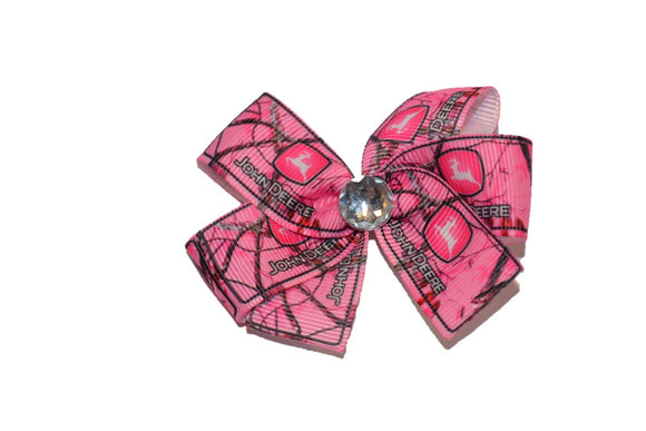 Pink Hunting Camo John Deere Logo Bow (John Deere Tractor) - Dream Lily Designs