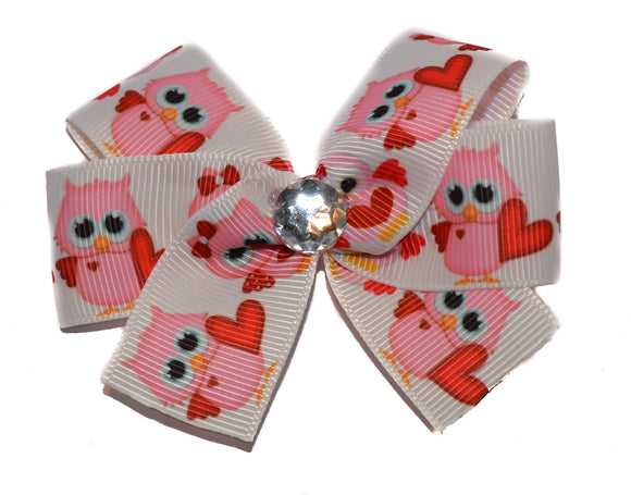 Pink Owl with Hearts Valentines Bow (Animal)