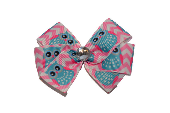 1 Inch Pink Chevron Blue Owl Bow (Animal)