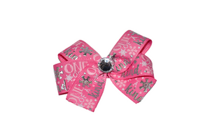 Pink One of Kind Snowflake Silver Foil Christmas Bow (Holidays) - Dream Lily Designs