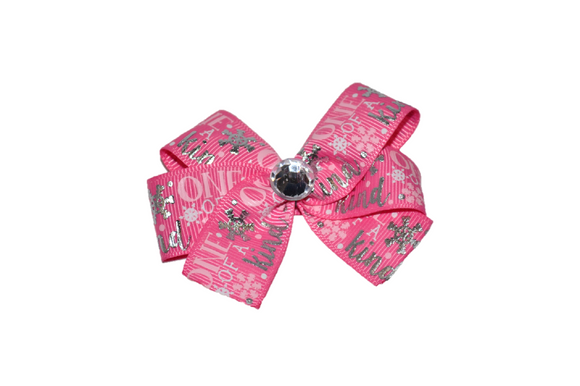 Pink One of Kind Snowflake Silver Foil Christmas Bow (Holidays)