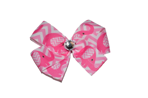 1 Inch Pink Chevron Elephant Bow (Animal)