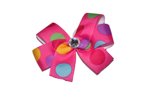 Pink with Multi Colored Polka Dots Bow (Misc Patterns) - Dream Lily Designs