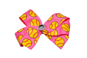 Pink Softball Bow (Sports) - Dream Lily Designs