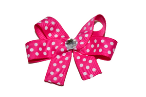 Hot Pink with White Polka Dots Bow (Misc Patterns) - Dream Lily Designs
