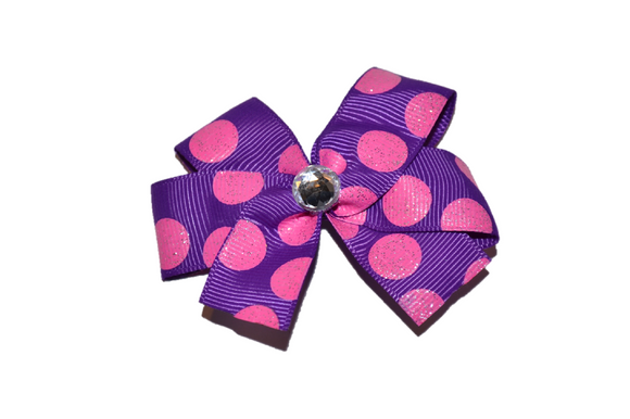 Purple with Pink Glitter Polka Dots Bow (Misc Patterns) - Dream Lily Designs