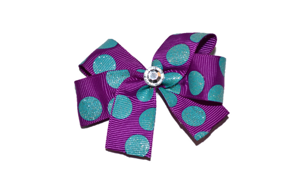 Purple with Teal Glitter Polka Dots Bow (Misc Patterns) - Dream Lily Designs