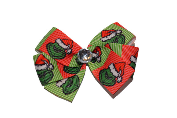 Grinch Red Green Santa Christmas Bow (Misc Characters) - Dream Lily Designs