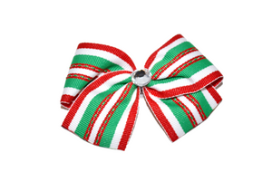 1.5 Inch Green Red White Christmas Striped Bow (Stripes and Chevron)