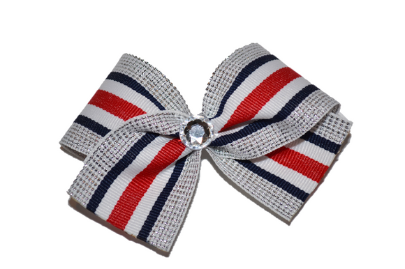 1.5 Inch Silver White Red Navy Blue Nautical Striped Bow (Stripes and Chevron) - Dream Lily Designs