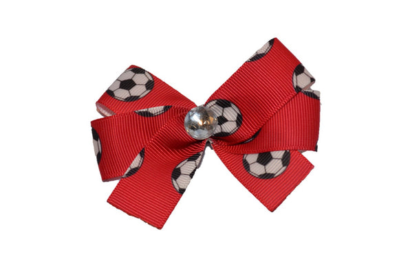 Soccer Balls on Red Bow (Sports) - Dream Lily Designs